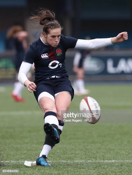 Emily Scarratt of England kicks at goal during the Womens Six Nations match between Wales and England at the Cardiff Arms Park on February 11 2017 in...