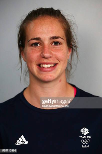 Emily Scarratt of Great Britain and the Womens Rugby Sevens Team poses during the Olympics preview day 2 at The British School on August 3 2016 in...