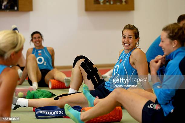 Emily Scarratt warms up ahead of an England Training Session of the IRB Women's Rugby World Cup 2014 at Stade Montelievres on August 11 2014 in Paris...