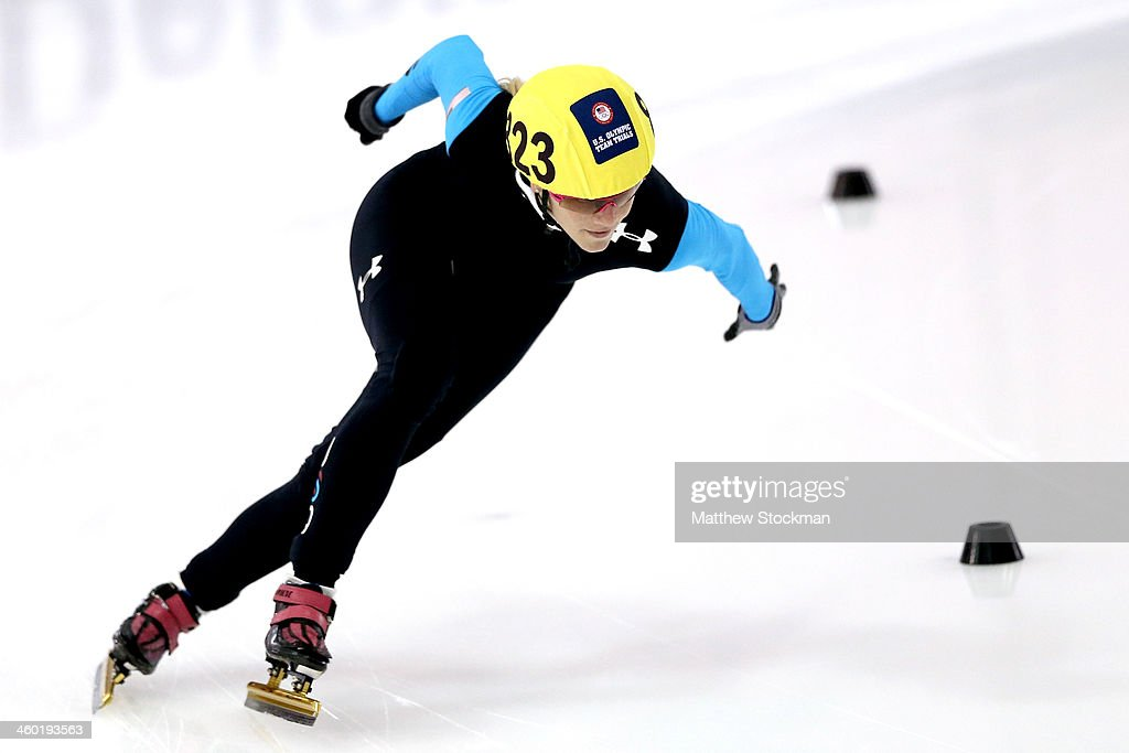 <a gi-track='captionPersonalityLinkClicked' href=/galleries/search?phrase=Emily+Scott+-+Speed+Skater&family=editorial&specificpeople=15291931 ng-click='$event.stopPropagation()'>Emily Scott</a> #823 competes in the ladies 1,000 meter time trial during the U.S. Olympic Short Track Trials at the Utah Olympic Oval on January 2, 2014 in Salt Lake City, Utah.