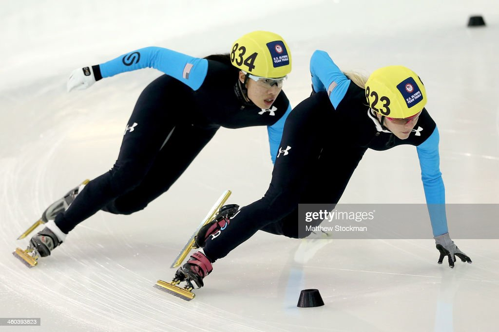<a gi-track='captionPersonalityLinkClicked' href=/galleries/search?phrase=Emily+Scott+-+Speed+Skater&family=editorial&specificpeople=15291931 ng-click='$event.stopPropagation()'>Emily Scott</a> #823 leads Sarah Chen #834 in the first ladies 1,500 meter semifinal during the U.S. Olympic Short Track Trials at the Utah Olympic Oval on January 3, 2014 in Salt Lake City, Utah.