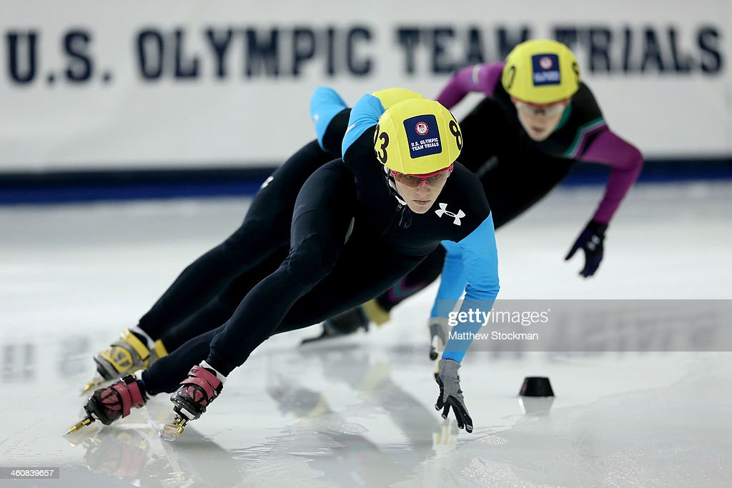 <a gi-track='captionPersonalityLinkClicked' href=/galleries/search?phrase=Emily+Scott+-+Speed+Skater&family=editorial&specificpeople=15291931 ng-click='$event.stopPropagation()'>Emily Scott</a> #823 skates in the second ladies 1,000 meter semifinal during the U.S. Olympic Short Track Trials at the Utah Olympic Oval on January 5, 2014 in Salt Lake City, Utah.