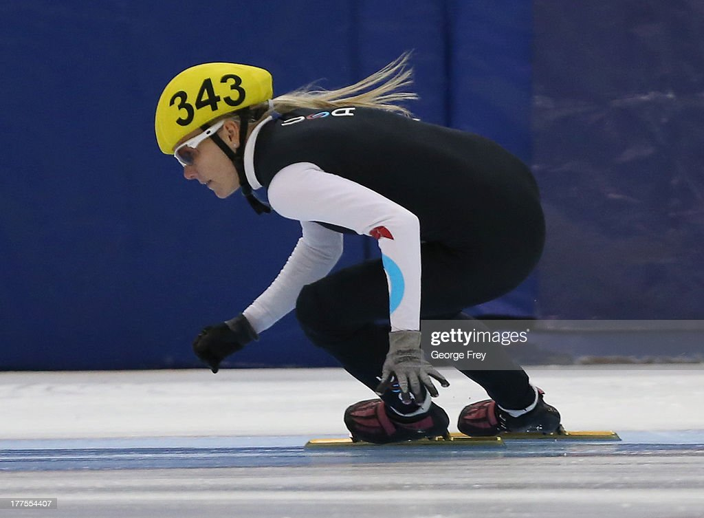 <a gi-track='captionPersonalityLinkClicked' href=/galleries/search?phrase=Emily+Scott+-+Speed+Skater&family=editorial&specificpeople=15291931 ng-click='$event.stopPropagation()'>Emily Scott</a> skates in the women's 1500m second race finals at the Short Track US Single Distance Championships on August 23, 2013 at the Olympic Oval in Kearns, Utah.