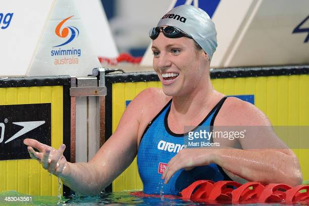 Emily Seebohm celebrates winning the final of the Womens 50 metre Backstroke event during the 2014 Australian Swimming Championships at Brisbane...