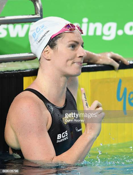 Emily Seebohm of Australia celebrates winning the Women's 200m Individual Medley during the 2017 Australian Swimming Championships at the Sleeman...