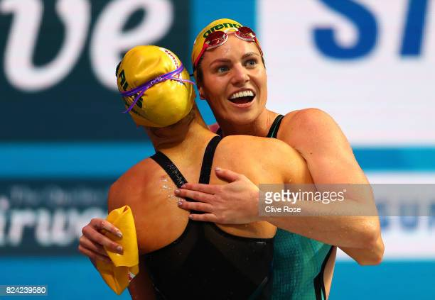 Emily Seebohm of Australia celebrates with Kaylee Rochelle Mckeown of Australia after winning the gold medal during the Women's 200m Backstroke final...