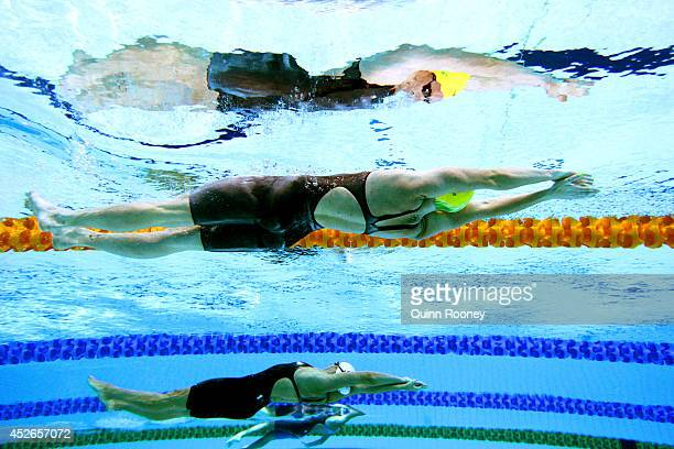 Emily Seebohm of Australia competes in the Women's 100m Beaststroke heat 4 at Tollcross International Swimming Centre during day two of the Glasgow...
