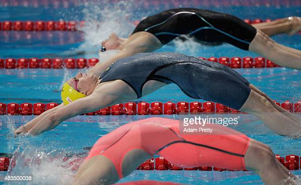 Emily Seebohm of Australia competes in the Women's 4x100m Medley Relay final on day sixteen of the 16th FINA World Championships at the Kazan Arena...
