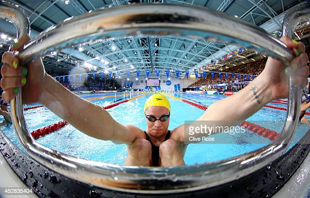 Emily Seebohm of Australia prepares to compete in the Women's 50m Backstroke Heat 3 at Tollcross International Swimming Centre during day five of the...