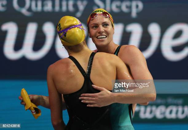 Emily Seebohm of Australia reacts with Kaylee McKeown after wining the Women's 200m Backstroke final during the FINA World Championships at the Duna...