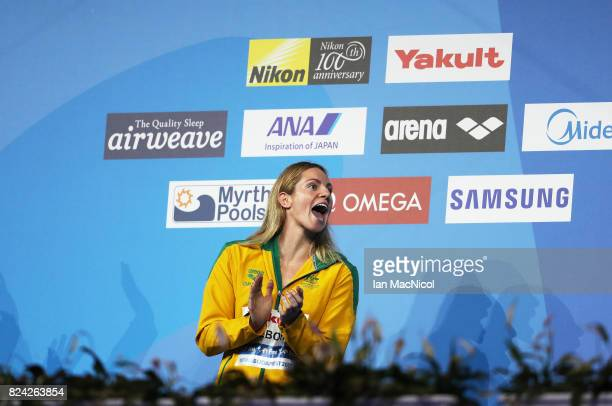 Emily Seebohm of Australia waits to recieve her gold medal from wining the Women's 200m Backstroke final during the FINA World Championships at the...