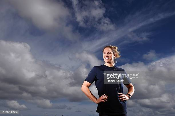 Emily Seebohm poses for a photo during the Arena Powerskin CarbonUltra Racing Suit Launch at Esca Restaurant on April 6 2016 in Adelaide Australia