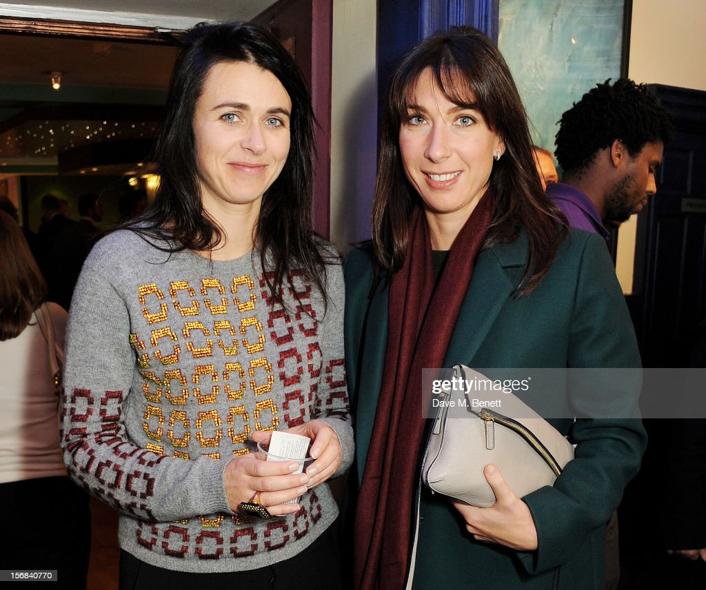 Emily Sheffield (L) and <a gi-track='captionPersonalityLinkClicked' href=/galleries/search?phrase=Samantha+Cameron&family=editorial&specificpeople=624344 ng-click='$event.stopPropagation()'>Samantha Cameron</a> attend Tricycle Theatre's 'Red Velvet: The Director's Party' on November 22, 2012 in London, England.