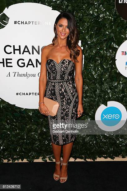 Emily Simms poses as she arrives for Change The Game A Thankyou Gala on February 26 2016 in Melbourne Australia