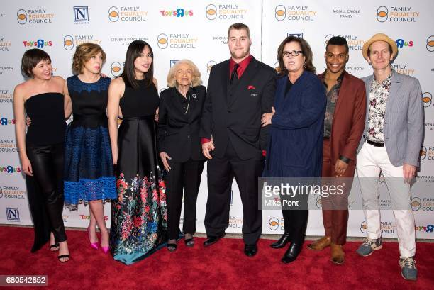 Emily Skeggs Maddie Corman Ivory Aquino Edie Windsor Rosie O'Donnell Justin Sams and Denis O'Hare attend the 2017 Family Equality Council's Night at...