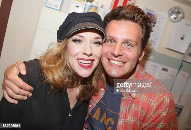Emily Skinner and Jonathan Groff pose backstage at the hit new musical 'Prince of Broadway' on Broadway at Manhattan Theatre Club's Samuel Friedman...