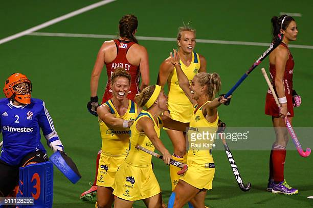 Emily Smith of Australia celebrates with Georgia Nanscawen and Casey Sablowski after scoring a goal during the International Test match between the...