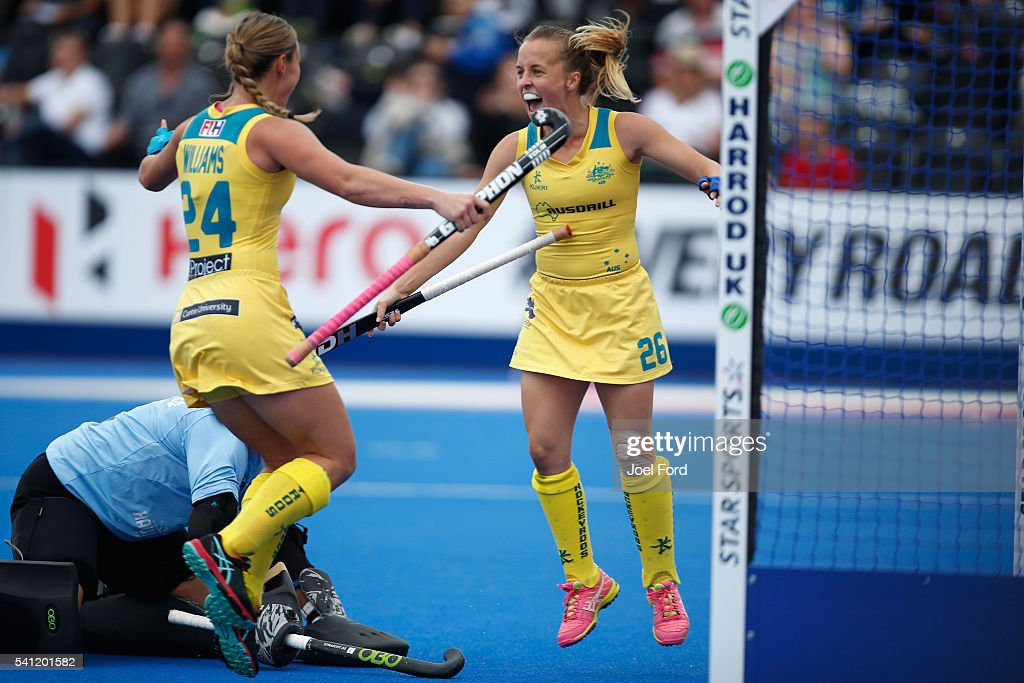 <a gi-track='captionPersonalityLinkClicked' href=/galleries/search?phrase=Emily+Smith+-+Field+Hockey+Player&family=editorial&specificpeople=15992052 ng-click='$event.stopPropagation()'>Emily Smith</a> of Australia celebrates with teammate <a gi-track='captionPersonalityLinkClicked' href=/galleries/search?phrase=Mariah+Williams+-+Field+Hockey+Player&family=editorial&specificpeople=8378875 ng-click='$event.stopPropagation()'>Mariah Williams</a> after she scored the games opening goal during the FIH Women's Hockey Champions Trophy 2016 match between Australia and New Zealand at Queen Elizabeth Olympic Park on June 19, 2016 in London, England.