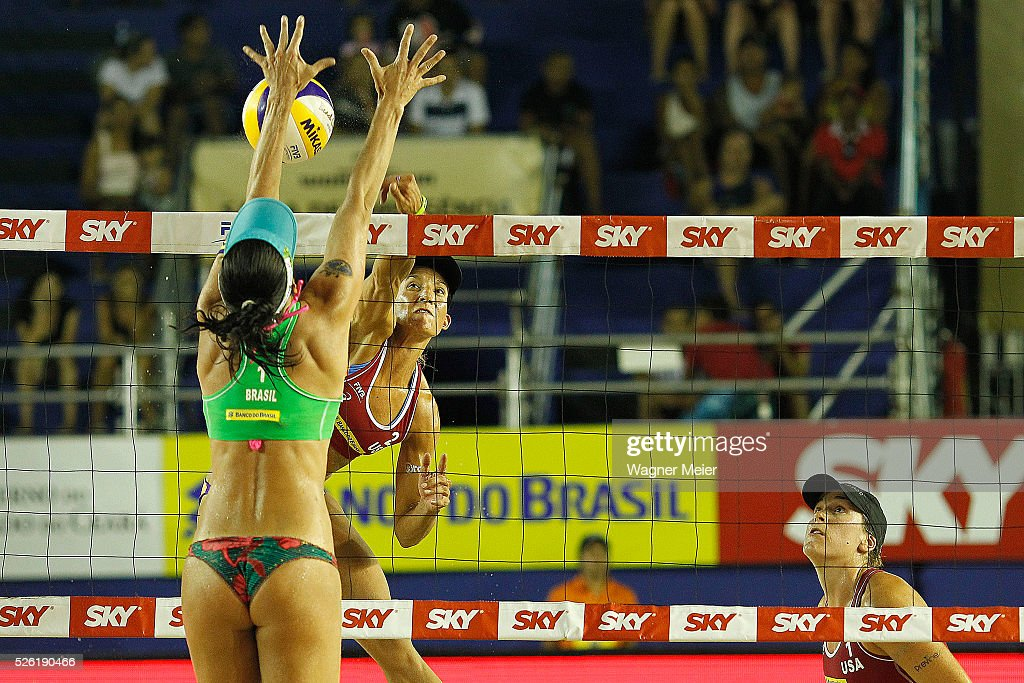 Emily Stockman of United States in action during main draw match against Agatha Bednarczuk of Brazil during the FIVB Fortaleza Open on Futuro Beach on April 29, 2016 in Fortaleza, Brazil.