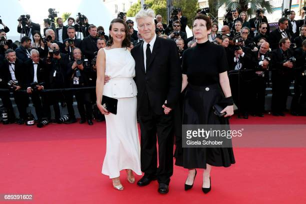 Emily Stofle director David Lynch and producer Sabrina S Sutherland attend the Closing Ceremony during the 70th annual Cannes Film Festival at Palais...