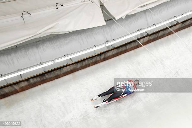 Emily Sweeney of USA in action during the Viessmann Luge World Cup at Olympiabobbahn Igls on November 28 2015 in Innsbruck Austria