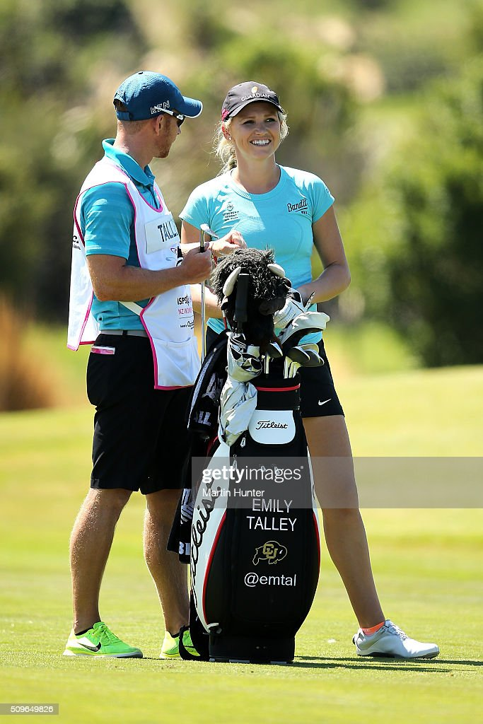 Emily Talley of USA talks to her caddie on the 17th fairway during the 1st round of the during the 1st round of the New Zealand Women's Open at Clearwater Golf Club on February 12, 2016 in Christchurch, New Zealand.
