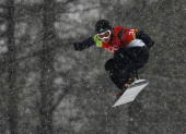 Emily Thomas of Australia competes in the Womens Snowboard Cross Qualifying on Day 7 of the 2006 Turin Winter Olympic Games on February 17 2006 in...