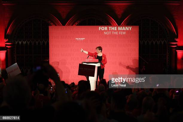 Emily Thornberry introduces Jeremy Corbyn Leader of the Labour Party during a campaign rally at Union Chapel Islington on June 7 2017 in London...