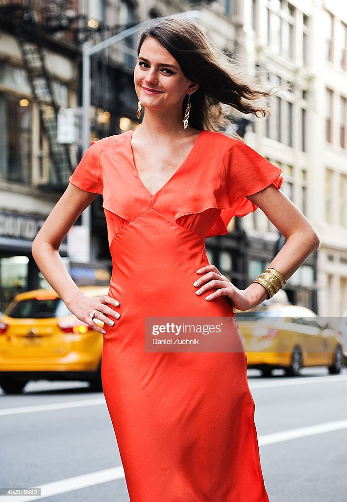 Emily Todd is seen around Soho wearing a Topshop dress on July 31, 2014 in New York City.