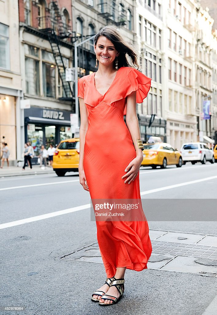 Emily Todd is seen around Soho wearing a Topshop dress with Stuart Weitzman sandals on July 31, 2014 in New York City.