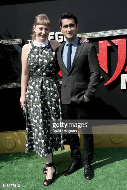 Emily V Gordon and Kumail Nanjiani at the premiere of Warner Bros Pictures' 'The LEGO Ninjago Movie' at Regency Village Theatre on September 16 2017...