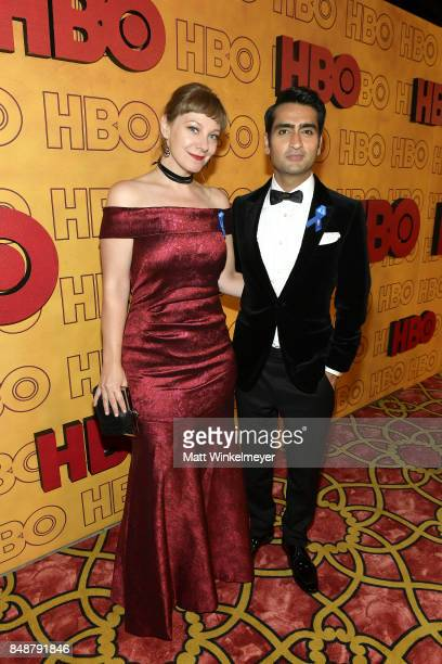Emily V Gordon and Kumail Nanjiani attend HBO's Post Emmy Awards Reception at The Plaza at the Pacific Design Center on September 17 2017 in Los...