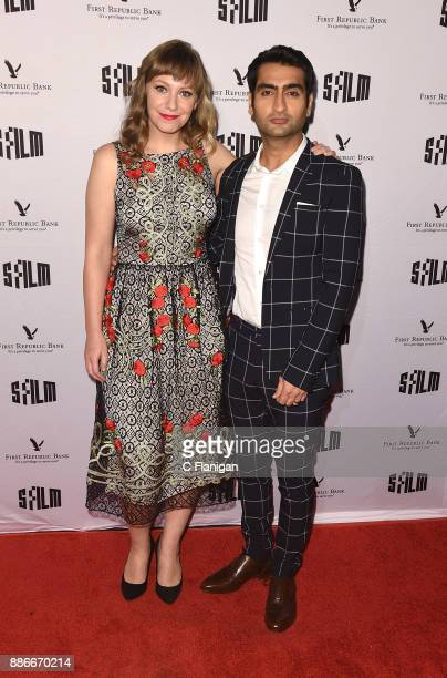 Emily V Gordon and Kumail Nanjiani attend SFFILM's 60th Anniversary Awards Night at Palace of Fine Arts Theatre on December 5 2017 in San Francisco...