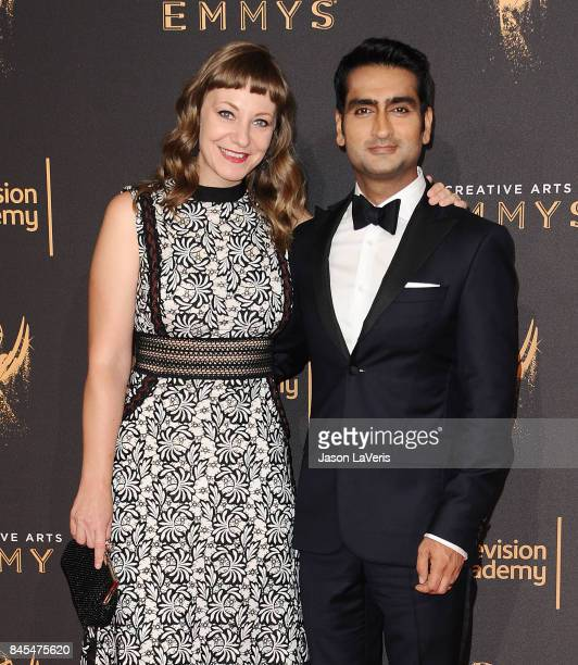 Emily V Gordon and Kumail Nanjiani attend the 2017 Creative Arts Emmy Awards at Microsoft Theater on September 10 2017 in Los Angeles California