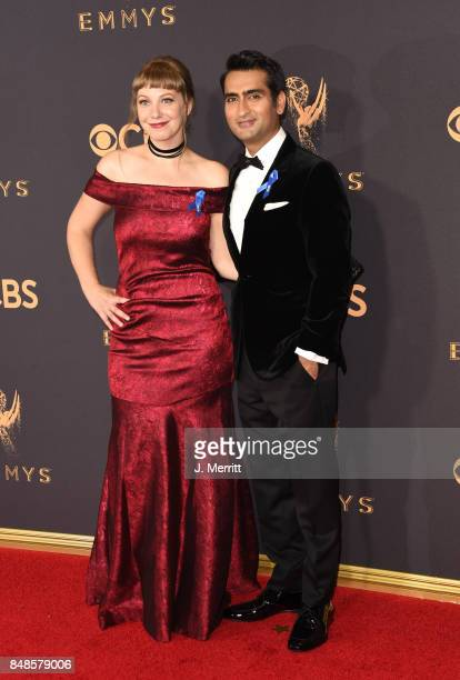 Emily V Gordon and Kumail Nanjiani attend the 69th Annual Primetime Emmy Awards at Microsoft Theater on September 17 2017 in Los Angeles California