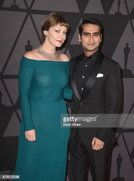 Emily V Gordon and Kumail Nanjiani attend the Academy of Motion Picture Arts and Sciences' 9th Annual Governors Awards at The Ray Dolby Ballroom at...