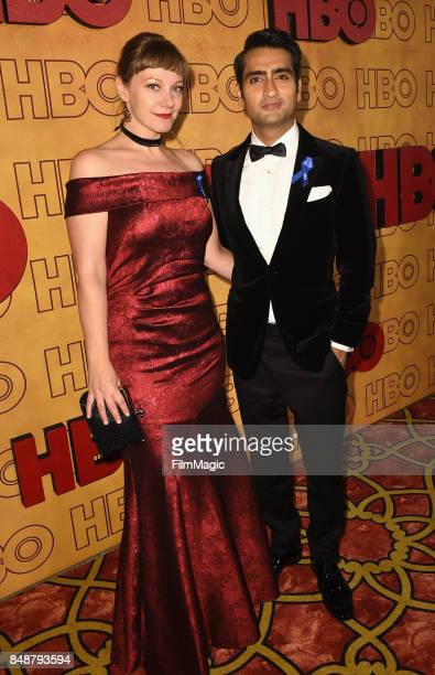 Emily V Gordon and Kumail Nanjiani attend the HBO's Official 2017 Emmy After Party at The Plaza at the Pacific Design Center on September 17 2017 in...