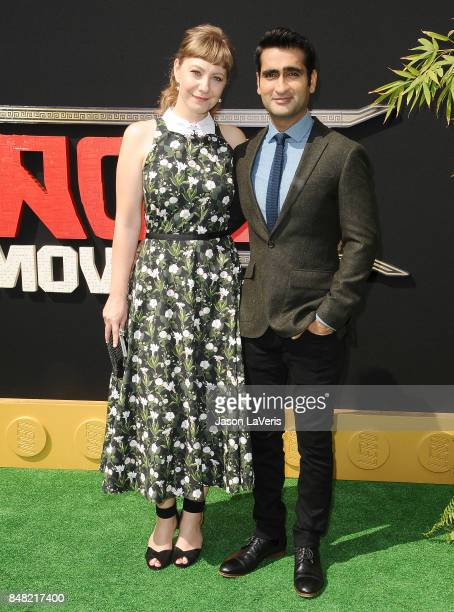 Emily V Gordon and Kumail Nanjiani attend the premiere of 'The LEGO Ninjago Movie' at Regency Village Theatre on September 16 2017 in Westwood...