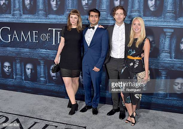 Emily V Gordon Kumail Nanjiani Thomas Middleditch and Mollie Gates attend the premiere of HBO's 'Game Of Thrones' Season 6 at TCL Chinese Theatre on...