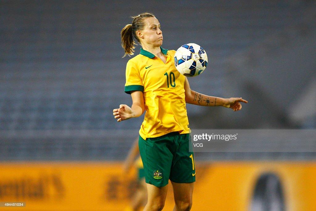 Emily van Egmond of Australia blocks the ball in the match between England and Australia during the 2015 Yongchuan Women's Football International...