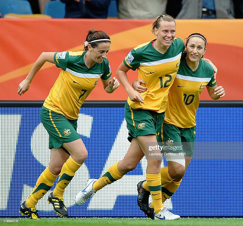 Emily Van Egmond of Australia celebrates her goal during the FIFA Women's World Cup 2011 Group D match between Australia and Equatorial Guinea at the...