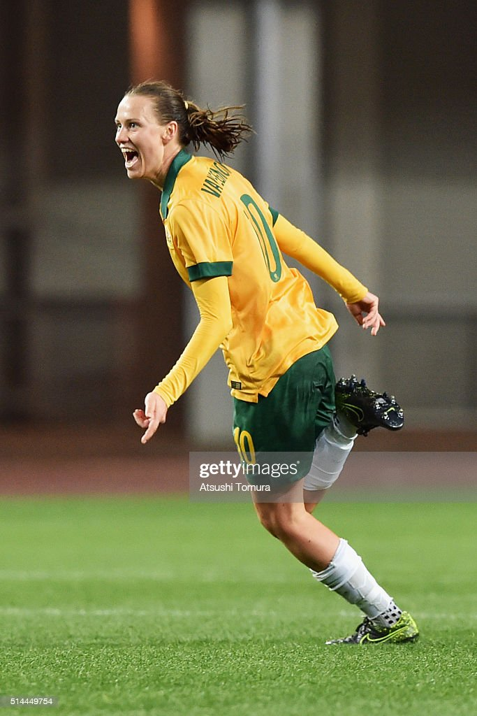 Emily van Egmond of Australia celebrates scoring her team's first goal during the AFC Women's Olympic Final Qualification Round match between...