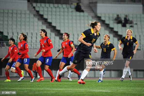 Emily van Egmond of Australia celebrates scoring her team's second goal during the AFC Women's Olympic Final Qualification Round match between South...
