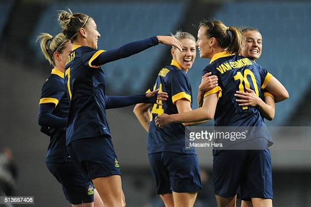 Emily van Egmond of Australia celebrates scoring her team's second goal with her team mates during the AFC Women's Olympic Final Qualification Round...