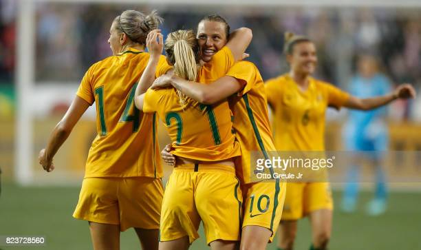 Emily Van Egmond of Australia celebrates with Ellie Carpenter after defeating the United States 10 during the 2017 Tournament of Nations at...