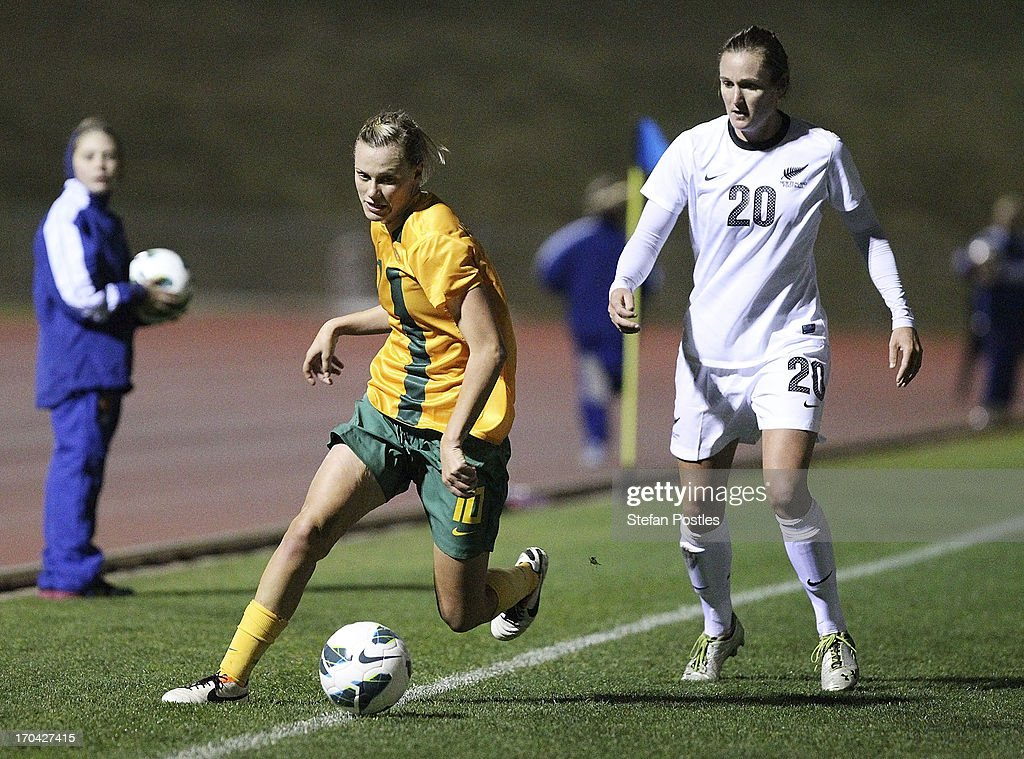 <a gi-track='captionPersonalityLinkClicked' href=/galleries/search?phrase=Emily+Van+Egmond&family=editorial&specificpeople=4667782 ng-click='$event.stopPropagation()'>Emily Van Egmond</a> of Australia in action during game one of the Women's International Series between the Australian Matildas and the New Zealand Football Ferns at AIS on June 13, 2013 in Canberra, Australia.