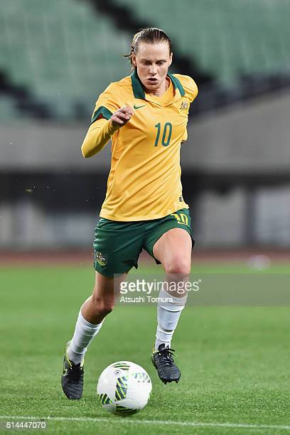 Emily van Egmond of Australia in action during the AFC Women's Olympic Final Qualification Round match between Australia and China at Yanmar Stadium...