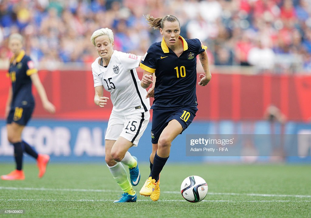 Emily Van Egmond of Australia in action during the FIFA Women's World Cup Canada 2015 Group D match between USA and Australia at Winnipeg Stadium on...