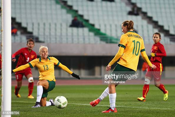 Emily van Egmond of Australia scores her team's seventh goal during the AFC Women's Olympic Final Qualification Round match between Australia and...