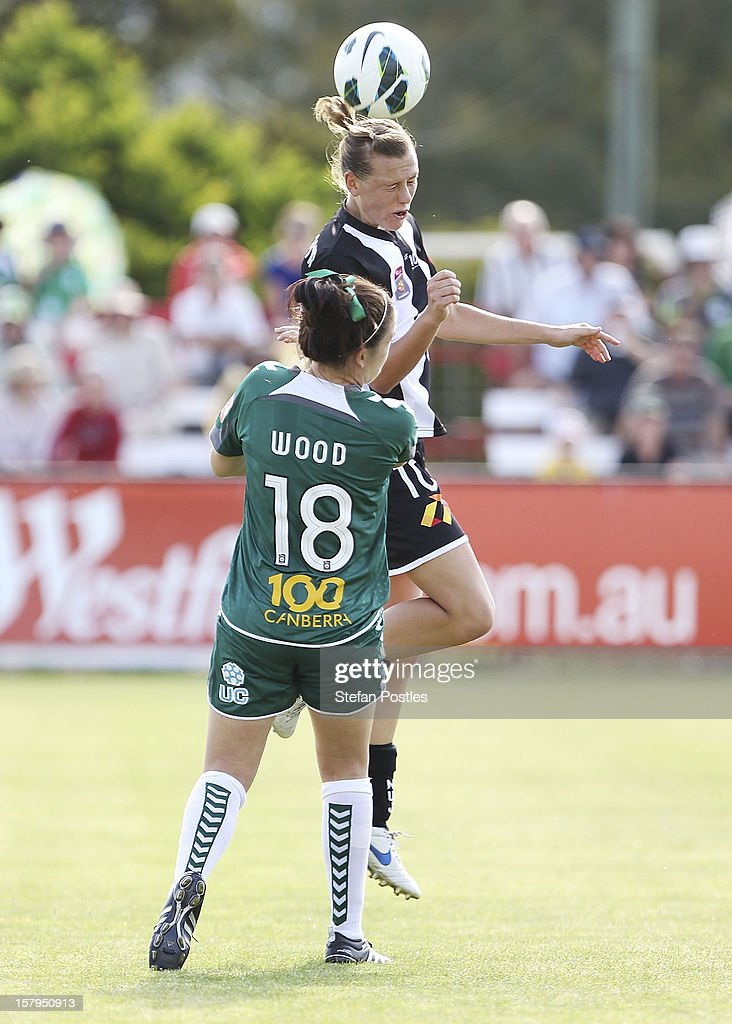 Emily Van Egmond of Newcastle Jets and Samantha Wood of Canberra United contest possession during the round eight W-League match between Canberra United and the Newcastle Jets at Deakin Football Stadium on December 8, 2012 in Canberra, Australia.
